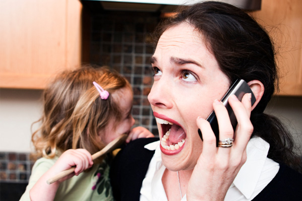 stressed mother in kitchen