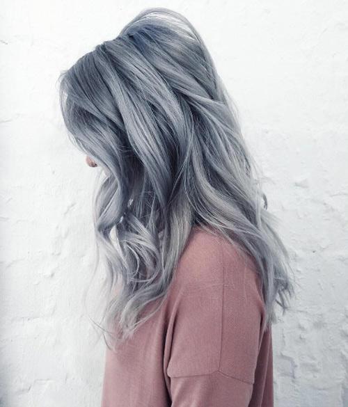 لون شعر بلاتيني رمادي