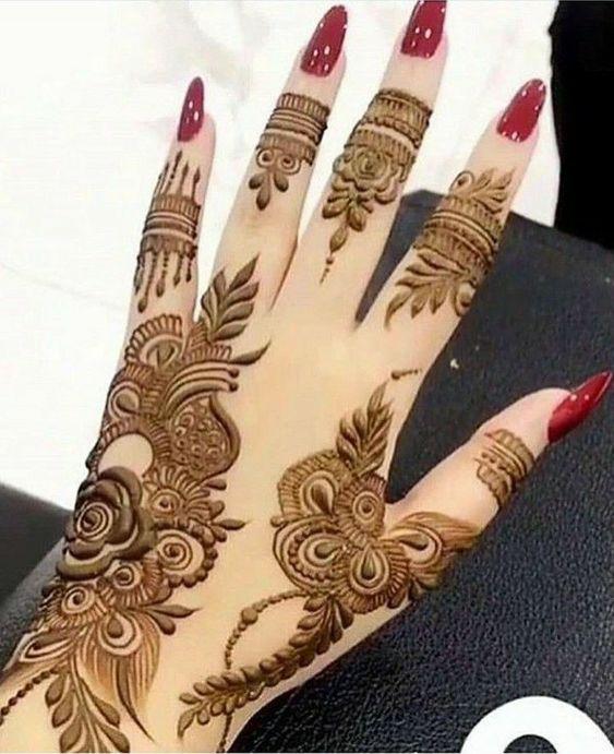 نقش حناء اماراتي أصابع